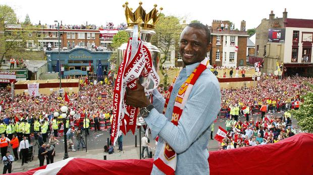 Patrick Vieira helped Arsenal win the Premier League title during his time at the club (PA)