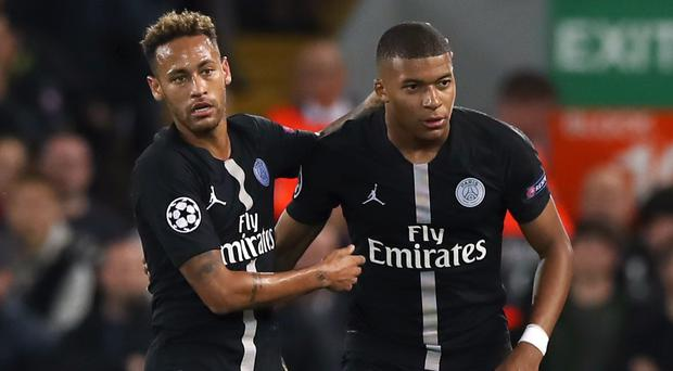 Paris Saint-Germain's Neymar and Kylian Mbappe are both the subject of transfer rumours (Peter Byrne/PA)