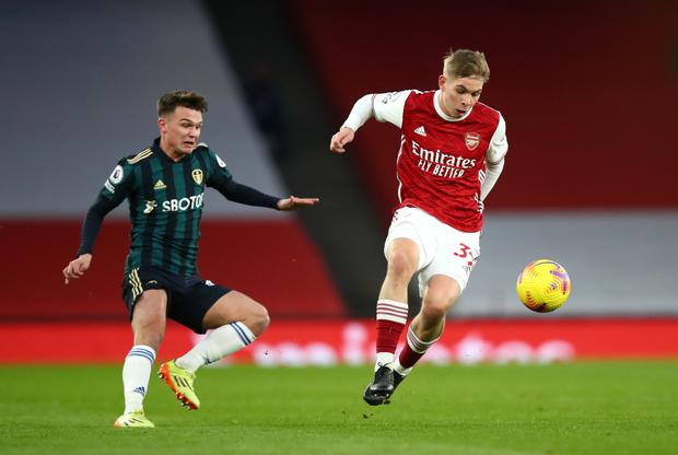 Arsenal's Emile Smith Rowe (right) is an emerging talent on Gareth Southgate's radar.