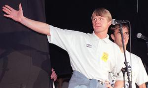 Stuart Pearce, left, helped Gareth Southgate deal with his penalty miss at Euro 96 (PA)
