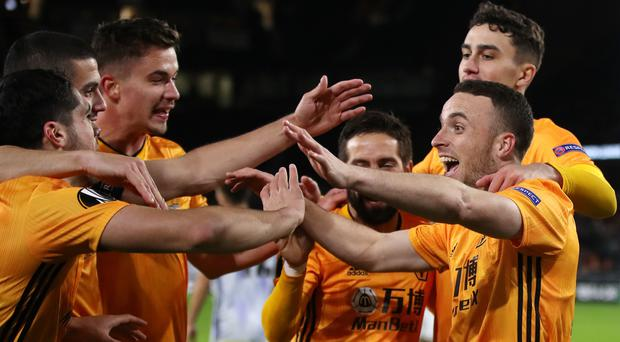 Diogo Jota celebrates the first goal of his hat-trick against Besiktas (Nick Potts/PA)
