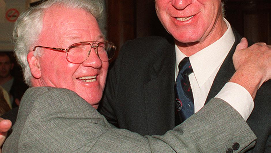 Pals again: Billy Bingham and Jack Charlton in Dublin in 1999