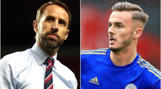 Gareth Southgate, left, has called for patience with James Maddison (Peter Byrne/Nick Potts/PA)