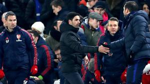 Arsenal manager Mikel Arteta, left, will face Chelsea counterpart Frank Lampard, right, in the FA Cup final (Bradley Collyer/PA)