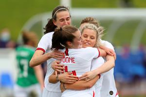 Jill Scott (centre) celebrated her 150th England cap (FA Handout/PA Images)