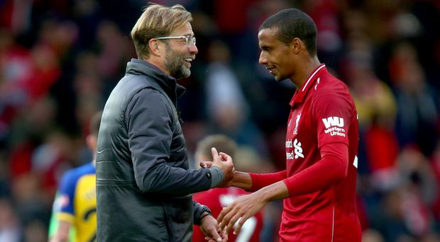 Joel Matip is one of several players Jurgen Klopp is hoping to have available again this week (Dave Thompson/PA)