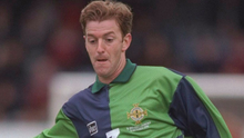 Familiar face: Keith Rowland, now in charge of Aveley and on a quest for FA Trophy success, playing for Northern Ireland in 1996