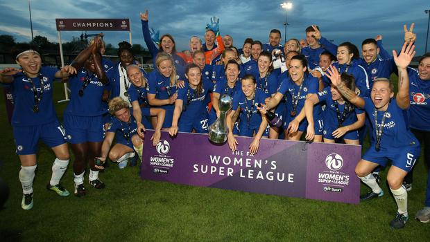 Chelsea celebrate becoming the Women's Super League champions