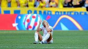 England's Alex Greenwood appears dejected after defeat to Sweden (Richard Sellers/PA)