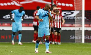 An unintentional handball by Tottenham's Lucas Moura against Sheffield United led to a goal by Harry Kane being disallowed (Jason Cairnduff/NMC Pool/PA)