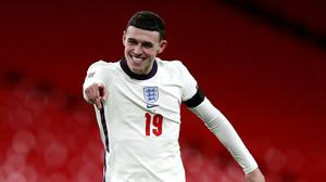 England's Phil Foden celebrates scoring his side's third goal of the game during the UEFA Nations League Group A2 match at Wembley Stadium, London (Ian Walton/PA)