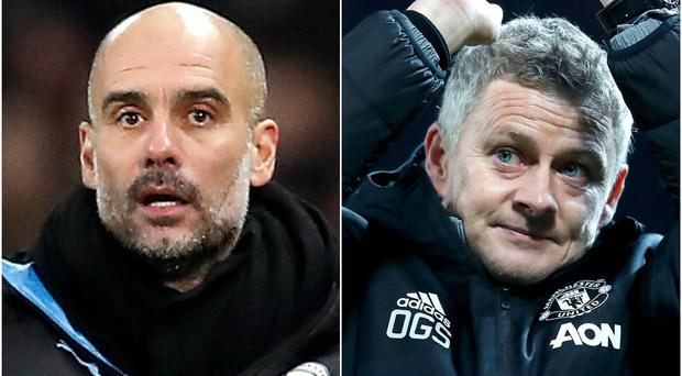 Pep Guardiola (left) believes Ole Gunnar Solskjaer's style is shining through at Old Trafford (Martin Rickett/PA)