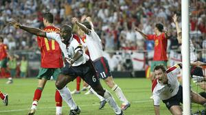 Sol Campbell thought he had scored a last-minute winner against the Euro 2004 hosts Portugal but the referee thought John Terry had fouled the goalkeeper (Owen Humphreys/PA)