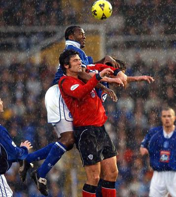 Johnson out jumps Crewe's Neil Sorvel during his time at Birmingham (PA)