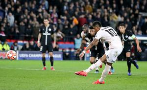 The decision to award Manchester United a last-gasp penalty brought a furious response from Neymar (John Walton/PA).