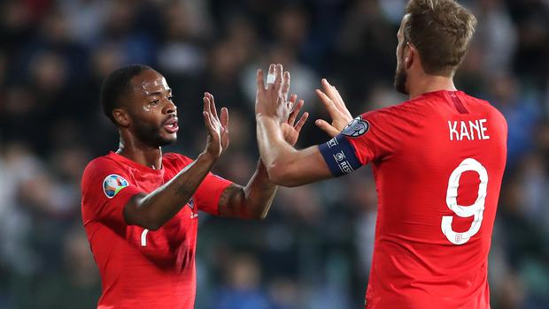 Raheem Sterling (left) has matched England captain Harry Kane's scoring rate in Euro 2020 qualifying (Nick Potts/PA)