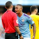 Manchester City's Gabriel Jesus appeals to referee Michael Oliver after his disallowed goal against Tottenham (Martin Rickett/PA)