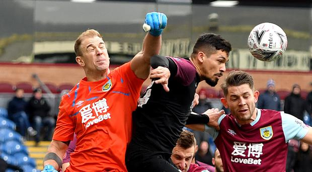 Goalkeeper Joe Hart in the thick of the action during Burnley's victory over Peterborough (Anthony Devlin/PA)
