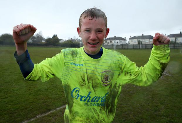 Safe hands: Lismore goalkeeper Liam Hughes was the hero in a penalty shoot-out victory over Cambridge House