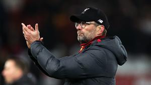 Liverpool manager Jurgen Klopp acknowledges the fans after his side crashed out of the Champions League (Peter Byrne/PA)