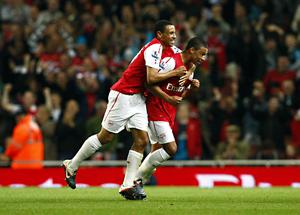 Alex Oxlade-Chamberlain (right) scored his first Arsenal goal in the Carling Cup – and was soon on target again in the Champions League (Sean Dempsey/PA)