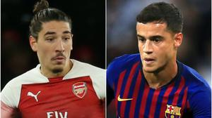 Hector Bellerin and Philippe Coutinho (Isabel Infantes/Mike Egerton/PA)