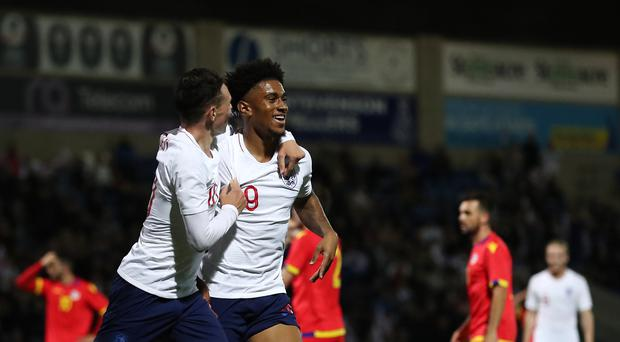 Reiss Nelson scored on his England Under-21 debut. (Martin Rickett/PA)