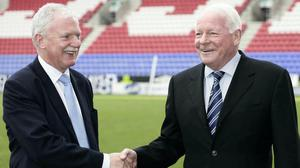 Ian Lenagan, left, and former Wigan Athletic owner Dave Whelan (Malcolm Couzens/PA)