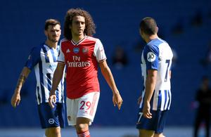 Matteo Guendouzi (left) has not featured for Arsenal since defeat at Brighton. (Mike Hewitt/NMC Pool)