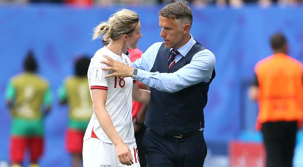 England head coach Phil Neville (right) will take no risks on the fitness of forward Ellen White (Richard Sellers/PA)