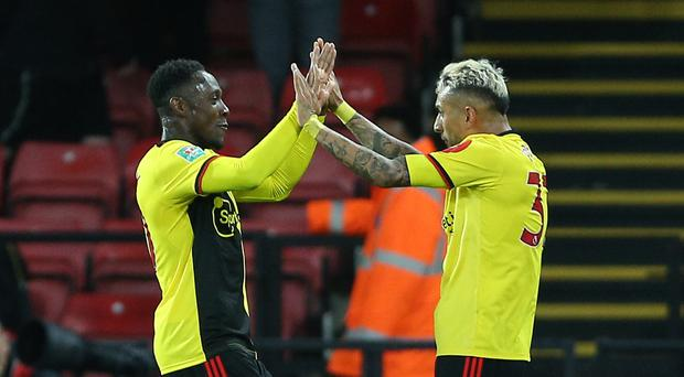Watford's Danny Welbeck, left, celebrates his goal (Nigel French/PA)