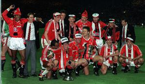 Manchester United celebrate winning the FA Cup at Wembley (PA)