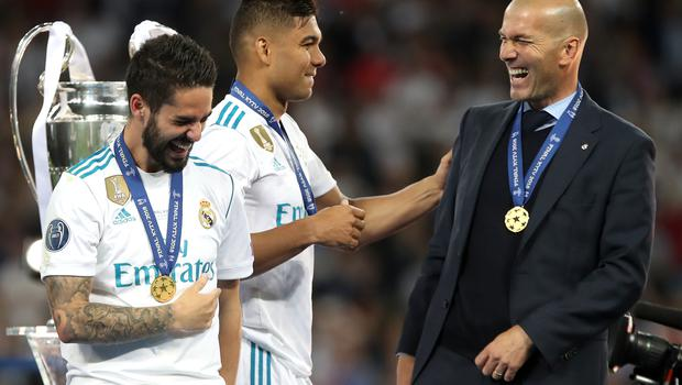 Zinedine Zidane was all smiles as he celebrated winning the Champions League with his players