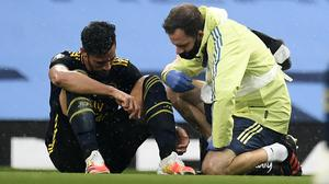 Arsenal defender Pablo Mari has been ruled out for the rest of the season after suffering an ankle injury in the Gunners' first match of the restart at Manchester City (Peter Powell/PA)