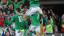 New heights: Gareth McAuley and Kyle Lafferty celebrate after the latter's late equaliser kept Northern Ireland on track to qualify for their first ever Euro finals