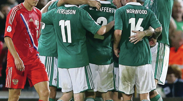 Celebration: Northern Ireland can make history by qualifying for Euro 2016