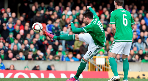 Pick that out: Kyle Lafferty scores the opening goal