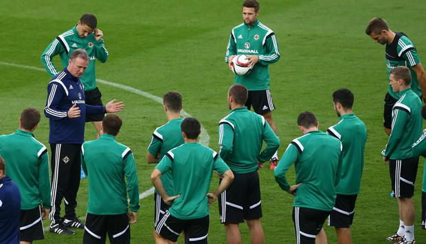 Team talk: Northern Ireland manager Michael O'Neill addresses his players