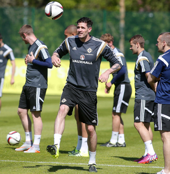 Ready for action: Kyle Lafferty will be hoping to boost his goals tally when Northern Ireland take on the Faroes tomorrow