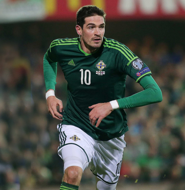 Hot streak: Kyle Lafferty celebrates scoring against the Faroes in October