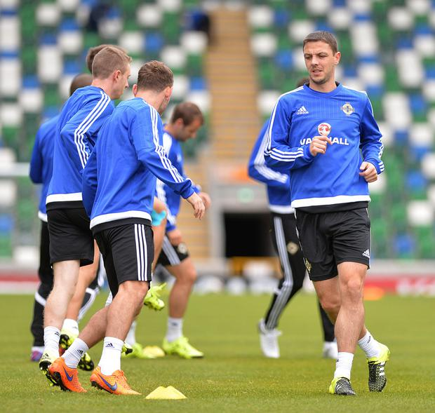 Running man: Chris Baird has played in every minute of Northern Ireland's Euro 2016 qualifiers
