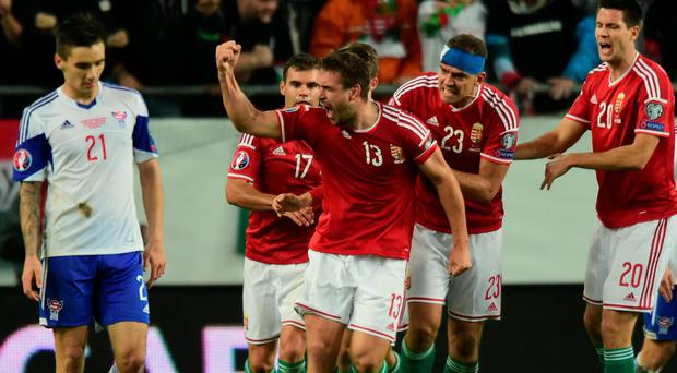 Hungary's Daniel Bode (centre) celebrates his side's winner