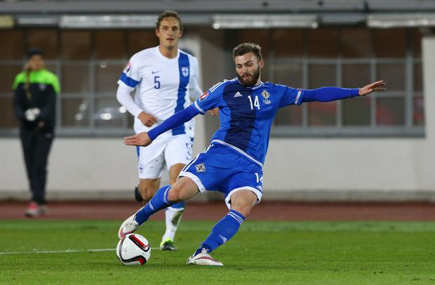 On the ball: Stuart Dallas was one of Northern Ireland's top performers against Finland