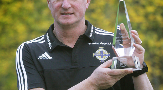 Prize guy: Michael O'Neill with Manager of Month gong