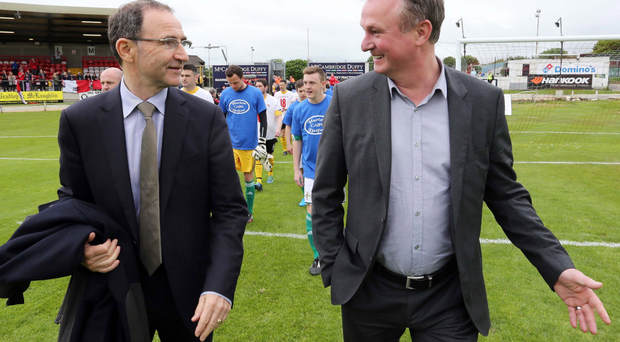 See you in France: Michael O'Neill (right) wants Martin's Republic to be at Euro 2016 with Northern Ireland