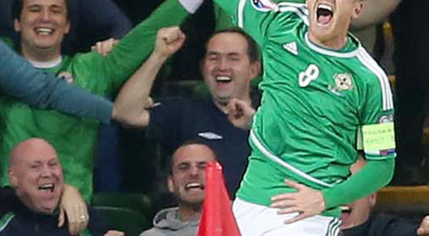 Cheers: Northern Ireland skipper Steven Davis will hope for more celebrations in the Euro finals in France next year