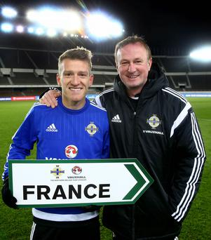 Right direction: Steven Davis and Michael O'Neill point the way to France