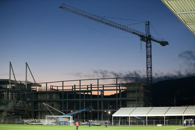 High hopes: The foundations have been put in place to begin work on the new Kop stand at Windsor Park