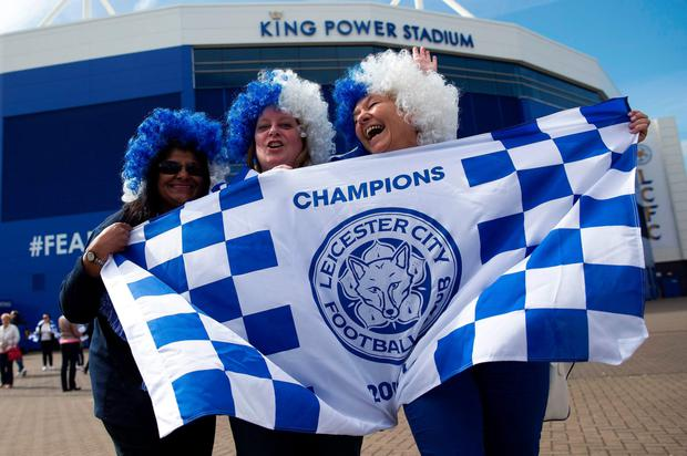 Leicester fans celebrate Premier League glory