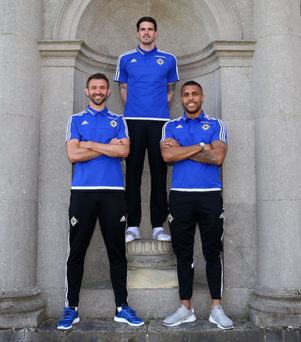 Raring to go: Gareth McAuley, Kyle Lafferty and Josh Magennis at the Northern Ireland camp at Carton House